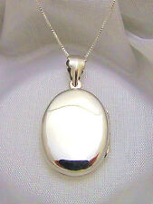 Solid 925 Sterling Silver Smooth Plain Oval Locket Box Chain Gift Box