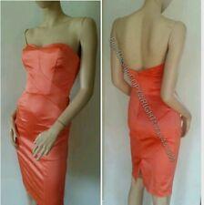 BEBE Coral Orange Satin Red Dress Karina shoes 6 7 8 S Small M Medium 2 4 $169
