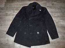 Vintage WWII WW2 US Navy USN Naval Clothing Pea Coat Mens Kersey Cord Pockets 36