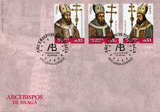 Portugal 2018 FDC Archbishops of Braga 3v Set Cover Bishops Religious Stamps