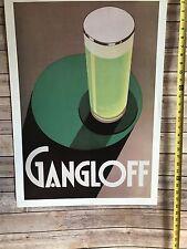 VINTAGE POSTER BEER GANGLOFF ART DECO ALCOHOL BAR REPRO 20x28 GREEN RARE