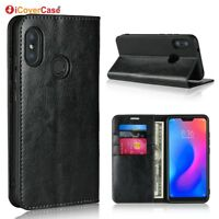 Luxury Genuine Leather Wallet Flip Case Stand Cover For Xiaomi Mi A2 Lite