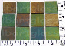 "12 Thin Pine Green 1""x1"" Iridized Bullseye Glass Bases 90 Coe"