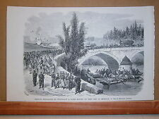 Gravure 19° troupes Française se préparant à faire sauter un pont sur la Moselle