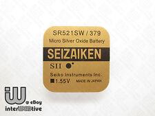 2 Pcs Seiko Seizaiken Japan 379 SR521SW AG0 SR521 SR63 Coin Cell Watch Battery