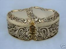 Aphrodite Double Heart Jewelry Box Gold Plate FREE SHIP
