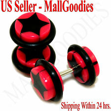 0846 Fake Cheaters Illusion Faux Ear Plugs 16G Bar Look 0G Hot Pink Black Star