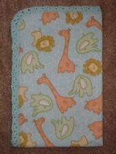 Crib/Nap/ Fleece Blanket- Elephants Lions, Giraffe/Mint Animal Print