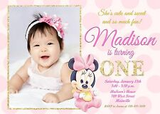 Birthday child minnie mouse invitations ebay minnie mouse pink and gold baby first birthday one year party stopboris Choice Image