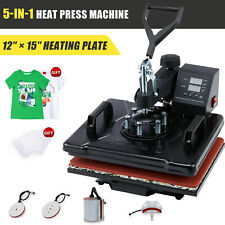5 In 1 T Shirt Heat Press Machine W 12x15 Heat Pad For Shirts Cups Plates More