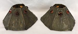 Pair Antique Arts & Crafts Newcomb College Jeweled Pierced Brass Lamp Shades
