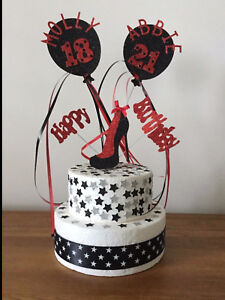 Cake Topper Joint (Twins) Stiletto High Shoe Personalised All colours Ages Names