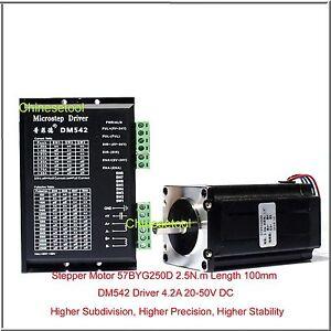Stepper Motor 57BYG250D 2.5 N.m Length 100mm+ Microstep Driver DM542 4.2A 20-50V