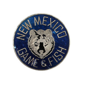 Vintage New Mexico Game & Fish Pin Back Button Pinback Bear Enameled Blue