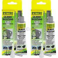 2x PETEC Hochtemperatur-Silikondichtung, Durable Elastic Grey 70 ML Tube Sb Card