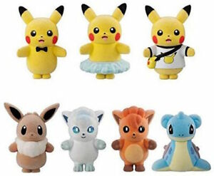 Bandai Pokemon Poke Mofu Doll 4 Complete 7 kinds set Flocked Plush Doll toy NEW