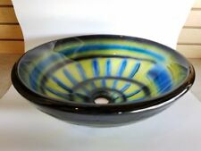 Art Pattern Double Layer Bath Bathroom Tempered Glass Vessel Sink Bowl CD2002B