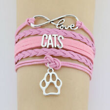Love Cats Pink Leather and Velvet Infinity Wrap Bracelet with Cat Paw Charm