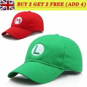 Fashion Adult Size Hat Cap Luigi Super Mario Bros Cosplay Baseball Costume New