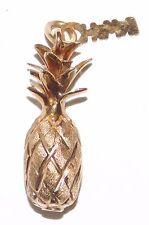 Estate Solid 14k Yellow Gold Hawaii 3-d Pineapple Bracelet Charm Pendant 2.6g