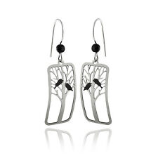 Raven Earrings - 925 Sterling Silver Ear Wires - Crow Black Bird Tree Halloween