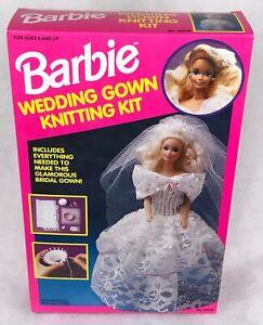 NIP vintage 90s BARBIE WEDDING GOWN KNITTING KIT yarn bride doll craft