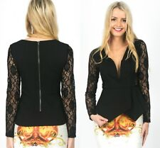 Ladies Black Jersey Lace Long Sleeve Peplum Top Elegant Blouse Evening Size 8-10