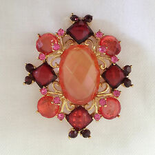 New Pink Peach Red Golden Crystals Floral Flower Oval Brooch Pin Gift BR1150A