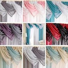 Sparkle Voile Swags Casablanca Glitter Gem Tassel Valance Pelmet Curtains