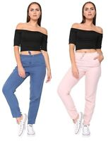 Womens Ladies Casual Summer Holiday Pure Linen Tapered Leg Linen Trousers Pants
