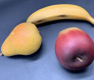 3 Pieces Vintage Porcelain Fruit Banana Apple & Pear