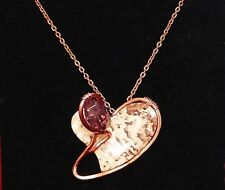 """COPPER WRAPPED CRAZYLACE AGATE HEART PENDANT with MAUVE CRYSTAL 20"""" STEEL CHAIN"""