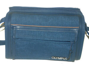 Genuine Olympus Camera Pro-Zoom Canvas Holdall Bag Blue With Strap - Superb
