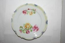 Vtg Silesia HP Art Pottery Bone China Plate Bead Scallop Rim Cottage Rose Chic