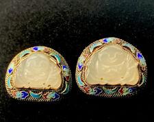 Antique CHINESE EXPORT Carved Buddah White Jade Filigree Enamel Earrings