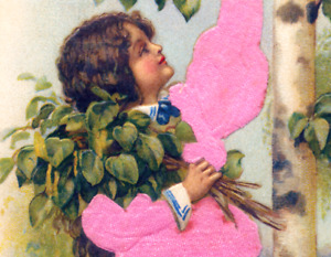 Best Wishes~GIRL IN PINK SILK REACHES FR BIRCH BRANCHES~Antique Postcard~Germany