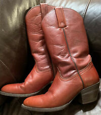 FRYE Rusty Red Pull On Boots Womens Size 8B Cowboy Style Made In USA
