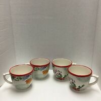 Set Of 4 PIONEER WOMAN Country Garden Floral Red Trim Coffee Mug  16 oz