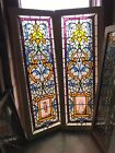 SG 2940 pair Antique Jeweled figural stained glass windows 21 25 x 58 5