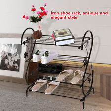 4-Tier Iron Shoe Rack Stand Storage Stand Cabinet Organizer Shelf Home Entryway