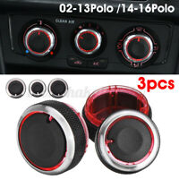 3pcs Aluminium Heater Dash Knobs Switch Buttons Chrome For VW Polo