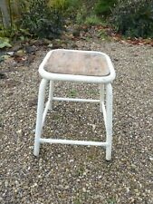 Vintage Metal Industrial Stacking Stool with Wooden Seat 2 of 2