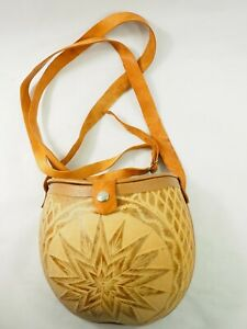 Artistic Aboriginal hand carved Leather Gourd Purse