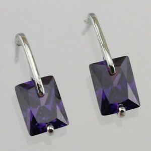 Nice Amethyst Purple Radiant Gems White Jewelry Gold Filled Stud Earrings h2994