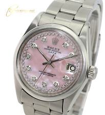 Rolex OysterDate  Stainless steel Pink MOP String Diamond Dial 34mm Watch