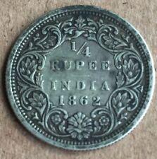 British India 1862 Queen Victoria  1/4 One Quarter Rupee Silver Coin