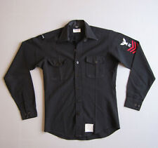 Vtg Military US Navy SHIRT Black Long Sleeve Anchor Buttons Patches