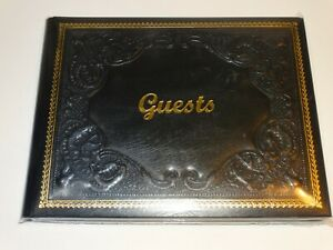 Black Gold Embossed  Italian Leather Bound Guest Book Wedding Fiorentina