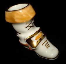 """LIMOGES FRANCE MINIATURE WHITE BOOT SHOE WITH GOLD DETAILS 2"""" TALL"""
