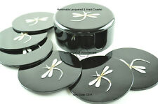 6 Handmade Coasters, Lacquered & Inlaid Wooden Cork Coaster With Box, Black C011